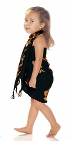 Girls Hibiscus Half Sarong in Caramel / Black