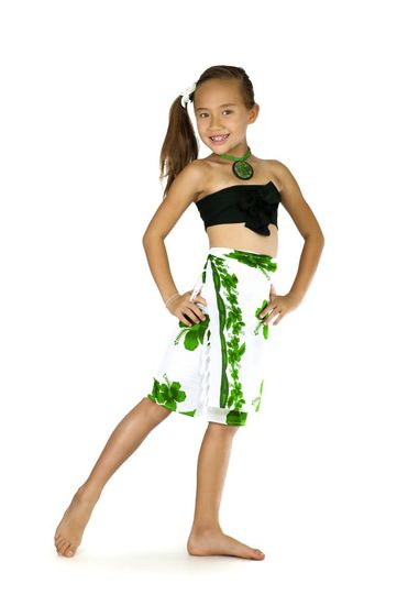 Girls Hibiscus Half Sarong in Green / White - Final Sale - No Returns
