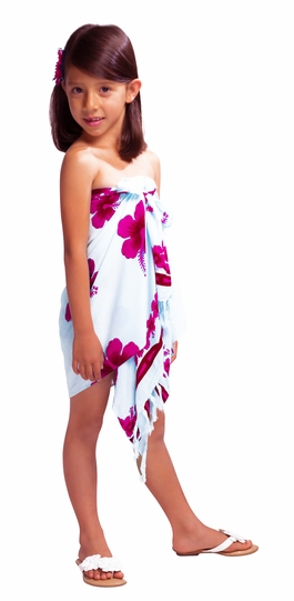 Girls Hibiscus Half Sarong in Pink / White