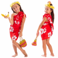 Girls Hibiscus Half Sarong in Red/White