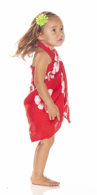 Girls Hibiscus Half Sarong in Red / White FRINGELESS