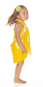 Girls Hibiscus Half Sarong in White / Yellow Fringeless