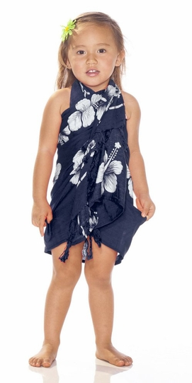 Girls Hibiscus Half Sarong Navy Blue / White