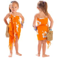 Girls Hibiscus Half Sarong Orange / White