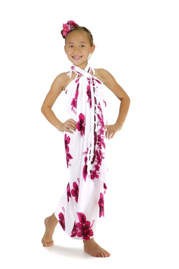 "Girls Hibiscus Sarong ""Pink / White"""
