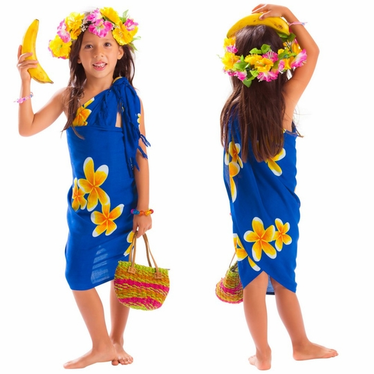 Girls Plumeria Half Sarong in Blue / Yellow