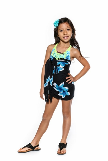 Girls Plumeria Half Sarong in Turquoise / Black