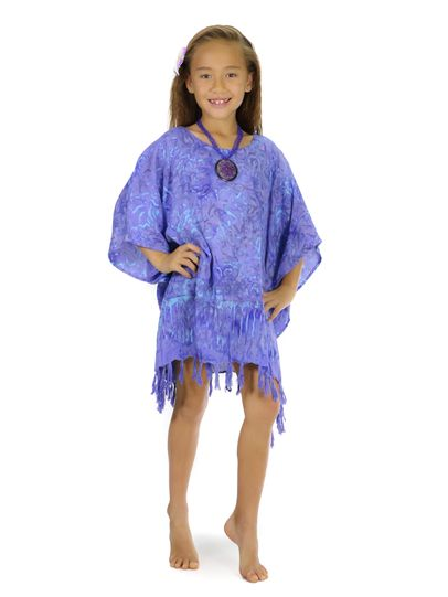 Girls Poncho Abstract Floral Leaf in Lavender