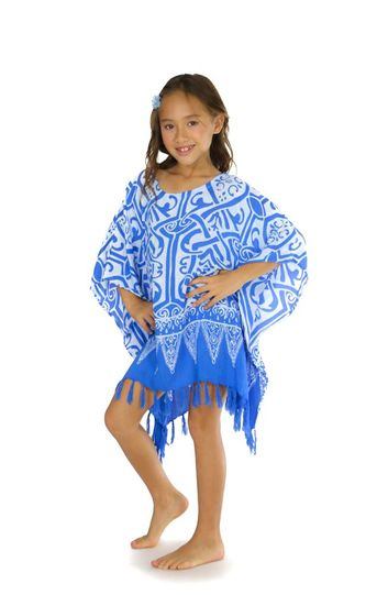Girls Poncho Abstract Tribal Poncho Light Blue