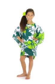 Girls Poncho Floral Poncho Amazonia Jungle Green and White Fringeless