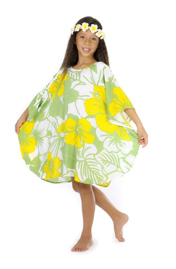 Girls Poncho Floral Poncho Canary Island Yellow and Green