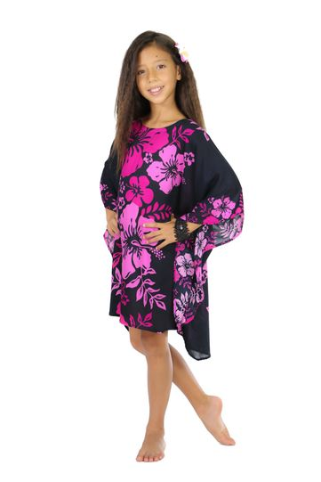 Girls Poncho Floral Poncho Cherry Blossom Pink Fuchsia and Black