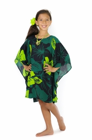 Girls Poncho Floral Poncho Lavish Jungle Green and Black