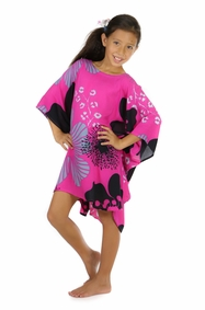 Girls Poncho Floral Poncho Pink Temptation Magenta and Black