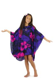 Girls Poncho Floral Poncho Summer Fun Pink and Purple