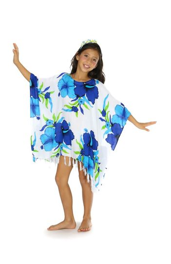 Girls Poncho  Hanalei Floral Cover-Up in Turq/White