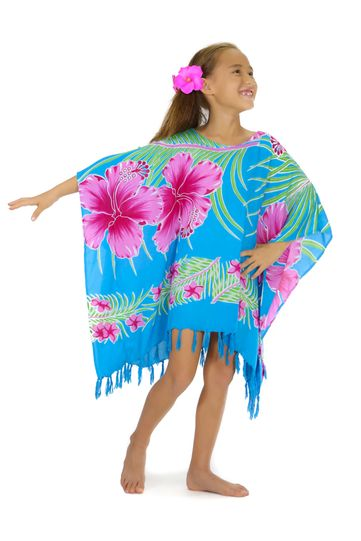 Girls Poncho Hawaiian Floral in Turquoise/Pink