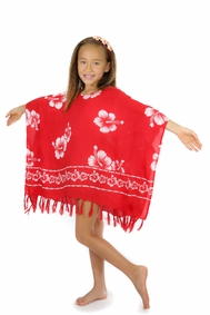 Girls Poncho Hibiscus Flower Cover-Up in Red/White