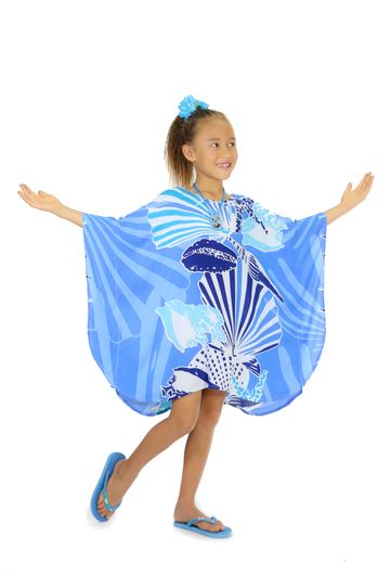 Girls Poncho Seashell in Blue
