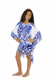 Girls Poncho Tahitian Lei in Royal Blue/White