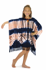 Girls Poncho Tie Dye Swimsuit Cover-Up in Jungle Brown