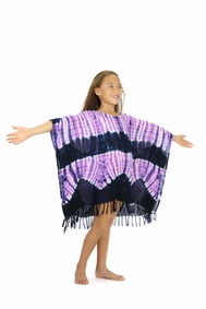 Girls Poncho Tie Dye Swimsuit Cover-Up in Jungle Purple