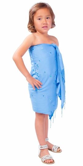 Girls Sequined / Embroidered / Beaded Half Sarong in Light Blue