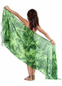 Girls Smoked Half Sarong Green/Light Green