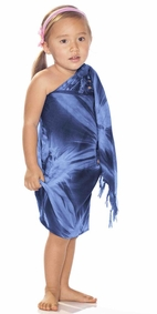 Girls Smoked Half Sarong in Navy Blue
