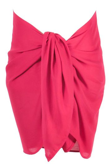 Girls Solid Color Fringeless Half Sarong in Hot Pink