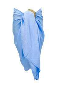 Girls Solid Color Fringeless Half Sarong in Light Blue