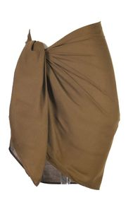 Girls Solid Color Fringeless Half Sarong in Light Brown