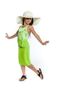 Girls Solid Color Fringeless Half Sarong in Lime Green