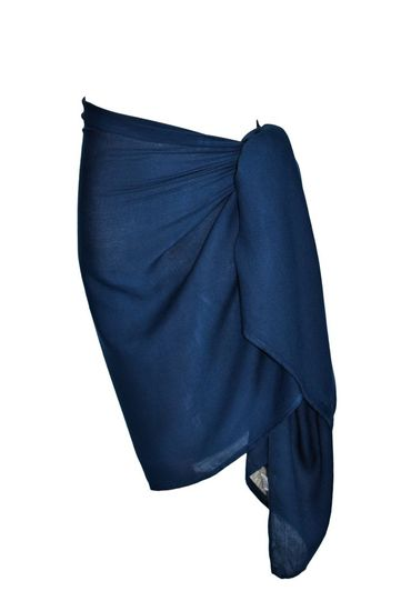 Girls Solid Color Fringeless Half Sarong in Navy Blue