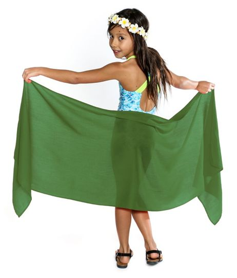 Girls Solid Color Fringeless Half Sarong in Olive Green