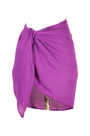 Girls Solid Color Fringeless Half Sarong in Purple-2