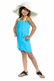 Girls Solid Color Fringeless Half Sarong in Turquoise