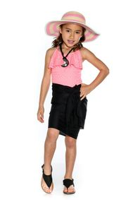 Girls Solid Color Fringeless Half Sarong in Black