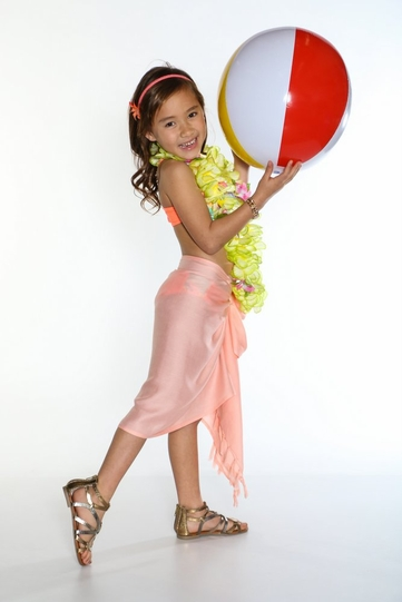 Girls Solid Color Half Sarong in Coral