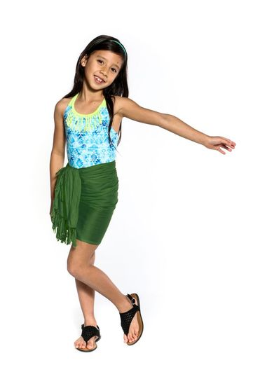 Girls Solid Color Half Sarong in Green