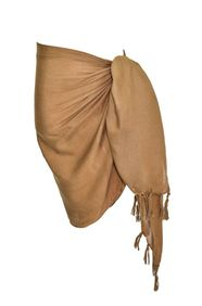 Girls Solid Color Half Sarong in Light Brown