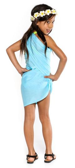 Girls Solid Color Fringeless Half Sarong in Light Turquoise