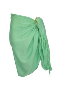 Girls Solid Color Half Sarong in Mint