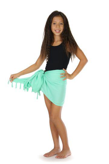 Kids Solid Half Sarong in Mint