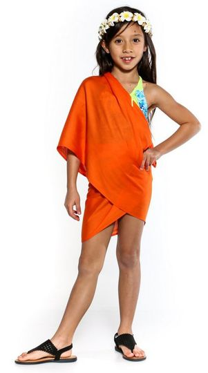 Girls Solid Color Half Sarong in Orange