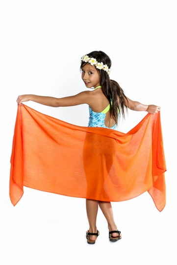 Girls Solid Color Fringeless Half Sarong in Orange