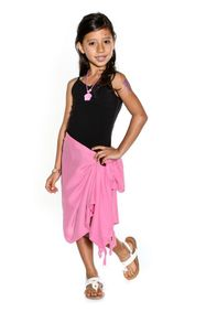 Girls Solid Color Half Sarong in Pink