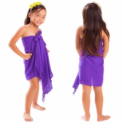 Girls Solid Color Half Sarong in Purple - Final Sale - No Returns