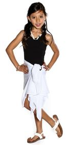 Girls Solid Color Fringeless Half Sarong in White