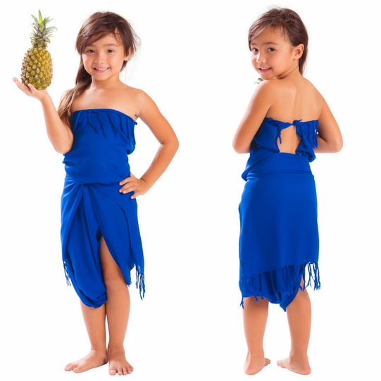 Girls Solid Color  Sarong in Blue